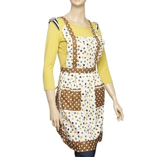 Double Layers Colored Dotted Print Pocket Bib Apron for Women