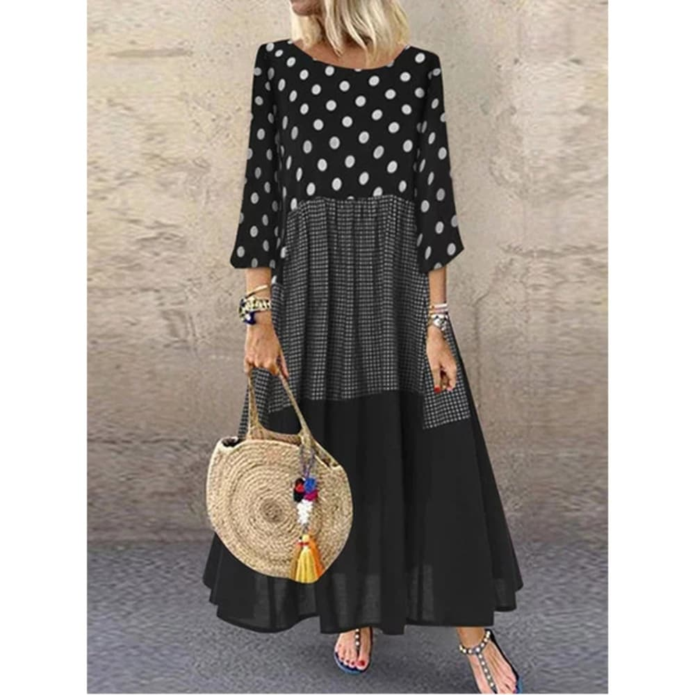 Lightweight Tiered Patterned Long Sleeve Maxi Dress Multiple Colors