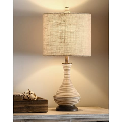 StyleCraft Pamela Natural Gray Table Lamp - Burlap Shade