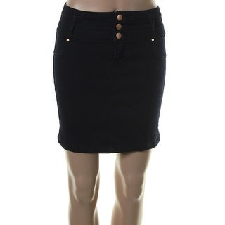 Tinseltown Womens Juniors Triple Stack Straight Skirt Denim Indigo Wash Navy 5