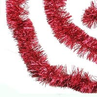 50' Shiny Red Festive Christmas Foil Tinsel Garland - Unlit - 6 Ply (Pack of 3)