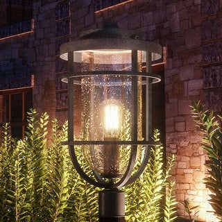 Luxury Nautical Outdoor Post Light 19 25 H X 10 W With Style Cage Design Black Sand Finish Free Shipping Today