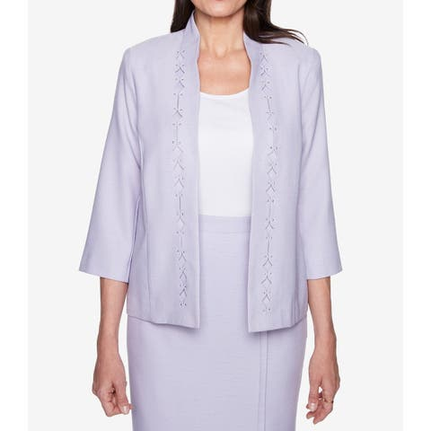 Alfred Dunner Lilac Purple Womens Size 10 Diamond Cutout Jacket