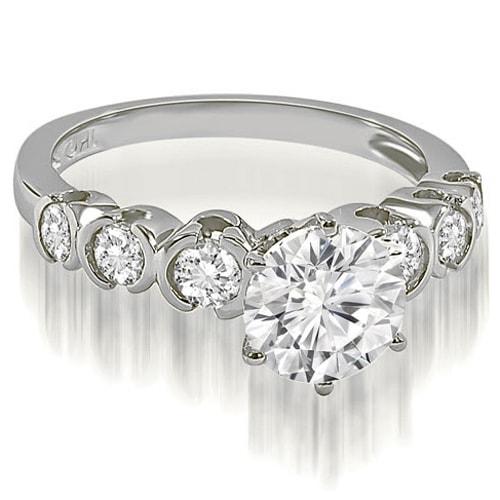 1.10 cttw. 14K White Gold Round cut Bezel set Diamond Engagement Ring