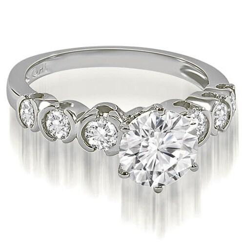 1.35 cttw. 14K White Gold Round cut Bezel set Diamond Engagement Ring