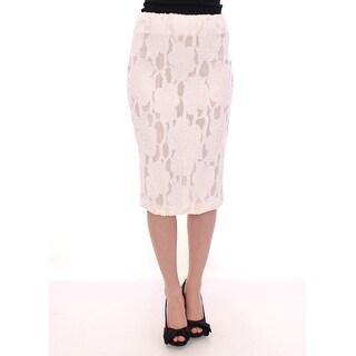 Andrea Incontri White Silk Straight Knee-length Pencil Skirt - it42-m