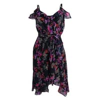 Betsey Johnson Women's Printed Cold-Shoulder Wrap Dress - Black/Multi