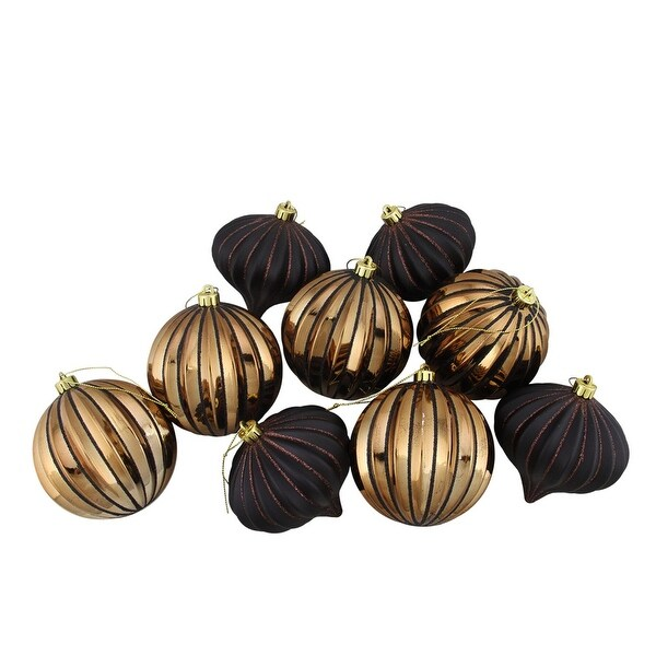 "9ct Black & Copper Glitter Striped Shatterproof Christmas Onion and Ball Ornaments 4"" (100mm)"