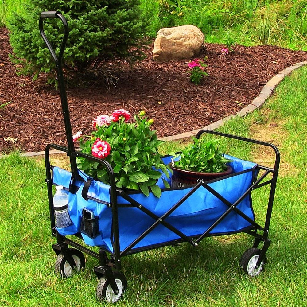 Sunnydaze Folding Utility Wagon Garden Cart, 150 Pound Weight Capacity - Multiple Colors - Thumbnail 0