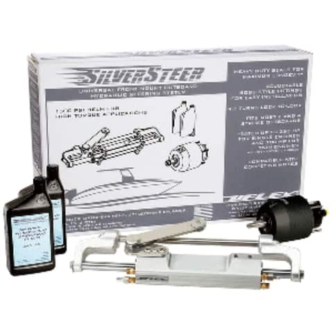"""28"""" White and Black UC130 V1 Outboard Hydraulic Tilt Steering System"""