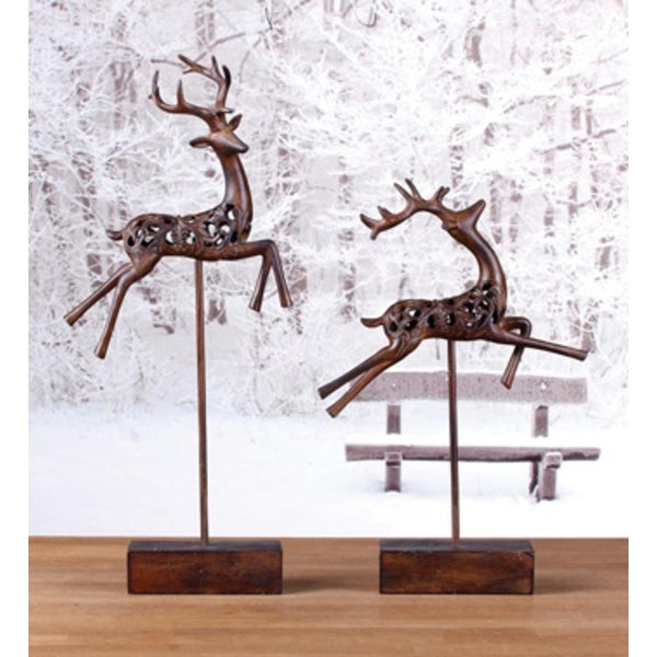 "Set of 2 Country Rustic Cut-Out Leaping Reindeer Christmas Table Top Figures 17"" - brown"
