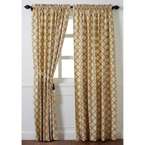 """Cottage Home Magalie Gold Silk 96"""" Drapery Panel - 52 x 96"""