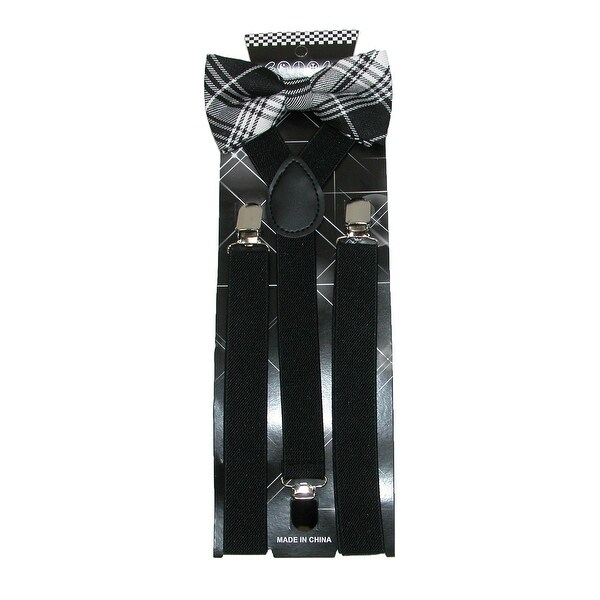 CTM® Men's Plaid Print Bow Tie with Solid Suspender Set - One size