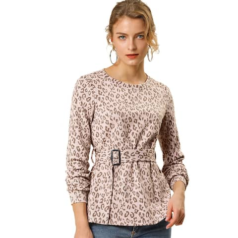 Women's Leopard Knit Tops Long Sleeve Round Neck T-shirt with Belt - Pink