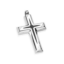 Stainless Steel with Black PVD Star Centered Cross Pendant (27 mm Width)