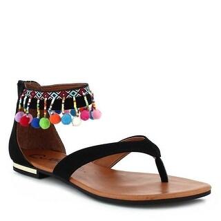 Nomadas Adult Black Multi Pompom Detail Zipper Flip Flop Sandals