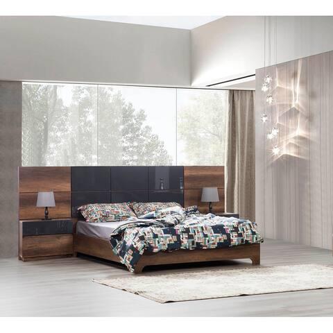 Opal Modern Platform Bed Glossy Finish
