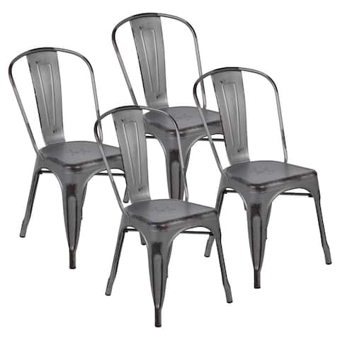 Distressed Metal Indoor-Outdoor Stackable Chair (Set of 4)