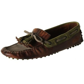 Car Shoe Womens Driving Moccasins Leather Distressed - 36