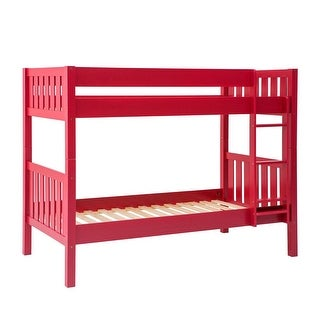 Offex Solid Wood Cottage Slat Bunk Bed - Red