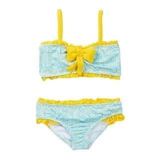 Azul Little Girls Blue Yellow Daisy Crazy Bandeau 2 Pc Bikini Swimsuit
