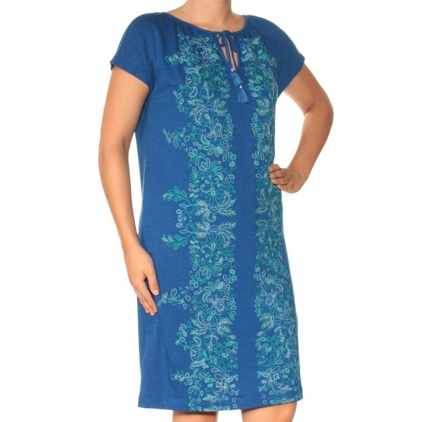 03efbbda938 Shop TOMMY BAHAMA Womens Blue Embroidered Sleeveless Keyhole Knee Length  Shift Dress Size  S - On Sale - Free Shipping On Orders Over  45 -  Overstock - ...