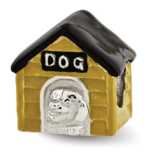 Sterling Silver Reflections Enameled Dog House Bead (4mm Diameter Hole)