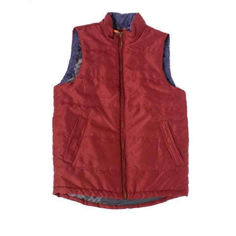 Weatherproof Mens Jacket Burgundy Small Puffer Mock-Neck Vest