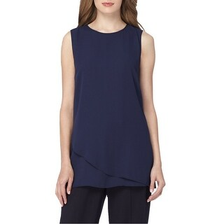 Tahari ASL Layered Crepe Sleeveless Blouse Shirt Top - m