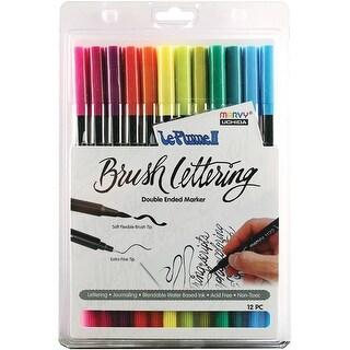 Le Plume II Double-Ended Brush Lettering Marker Set 12/Pkg-B - Bright