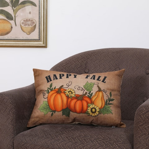 "Glitzhome 18""L Faux Burlap Fall Thanksgiving Halloween Pumpkin Pillow"