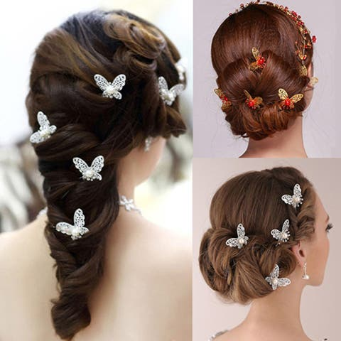 6 Pcs Butterfly U Shaped Hairpin Bride Headwear Wedding Party Hair Accessories