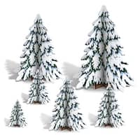 """Club Pack of 72 3-D Winter Pine Tree Centerpieces Christmas Decorations 4""""-12"""" - green"""