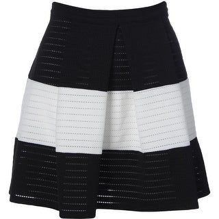 Aqua Womens Juniors Striped Eyelet A-Line Skirt