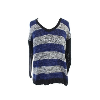 Kensie Blue Combo Long-Sleeve V-Neck Striped Sweater S
