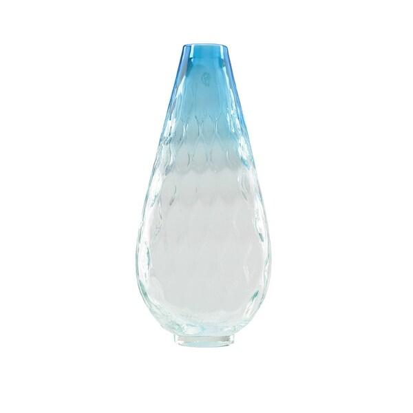 "14"" Teardrop Shaped Azure Blue Ombré Textured Hand Blown Glass Vase"