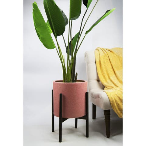 UPshining 13'' Extra Large Mid-Century Modern Ceramic Planter Pastel Pink With Wood Stands