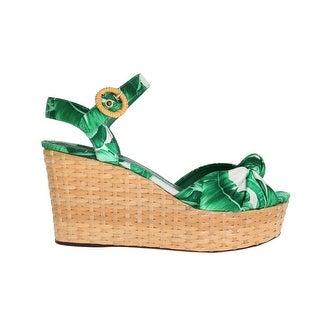 Dolce & Gabbana Green Banana Leaf Wedges Platform Sandals - eu39-us8-5