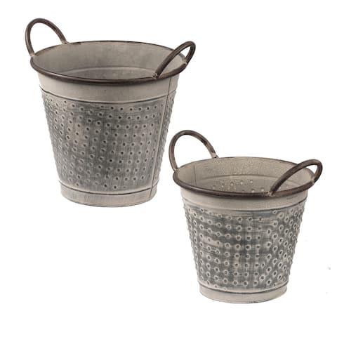 A&B Home Antique Gray Metal Planter Buckets (Set of 2)