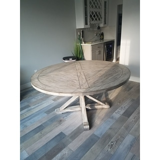 Benchwright Rustic X-base Round Pine Wood Dining Table by iNSPIRE Q Artisan