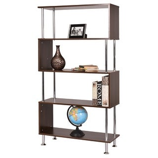 Costway 32''x12''x58'' 4 Shelf Bookcase Wooden Bookshelf Storage Display Unit Furniture