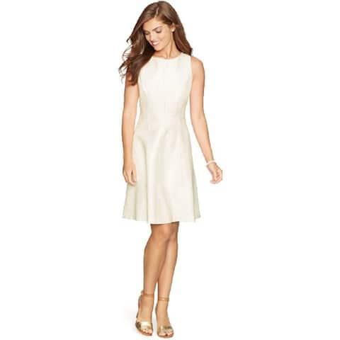 American Living Women's Sleeveless Gold Metallic Fit & Flare Dress, White, L