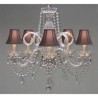 Swarovski Crystal Trimmed Crystal Chandelier Lighting & Black Shades
