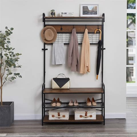 Merax 5-In-1 Entryway Hall Tree with Shoe Bench, Coat Rack with 11 Hooks and 2 Hanging Rods