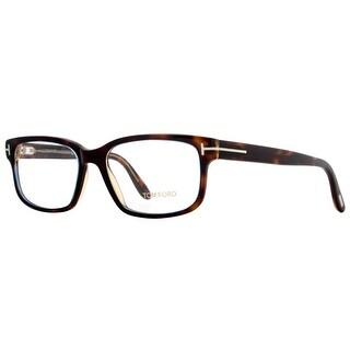 TOM FORD Rectangular TF 5313 Unisex 055 Dark Havana Clear Eyeglasses - 55mm-17mm-145mm