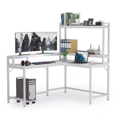 L Shaped Computer Desk with Hutch and Monitor Stand Storage Shelves