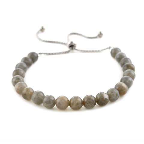 Shop LC Stainless Steel Green Labradorite Bolo Bracelet Ct 6.3