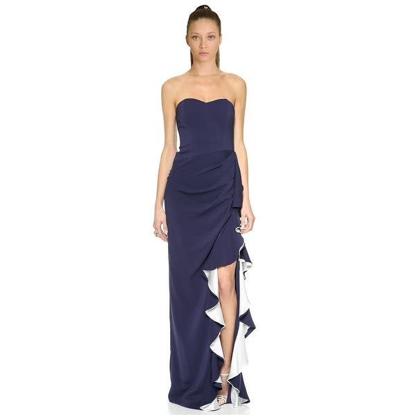 Shop Badgley Mischka Contrast Ruffle Strapless Evening Gown