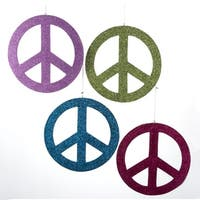 """Club Pack of 12 Wooden Glittered Peace Sign Christmas Ornaments 8"""" - multi"""