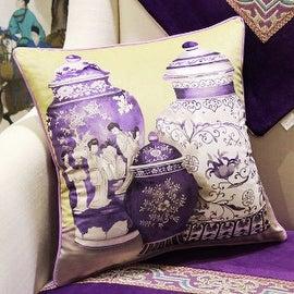 "Luxury Purple Three Vase Printing Pillow 18""X18"""